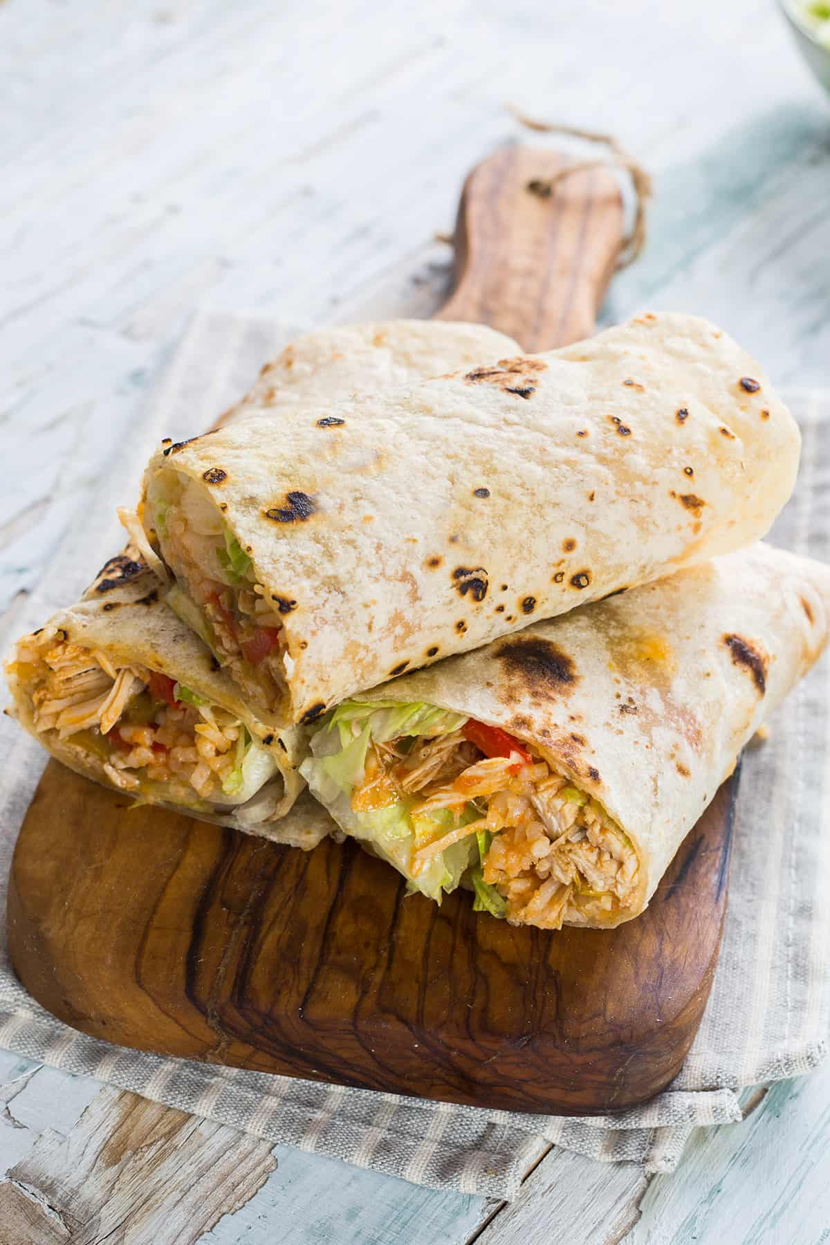 Chicken and rice burritos filled with juicy ingredients