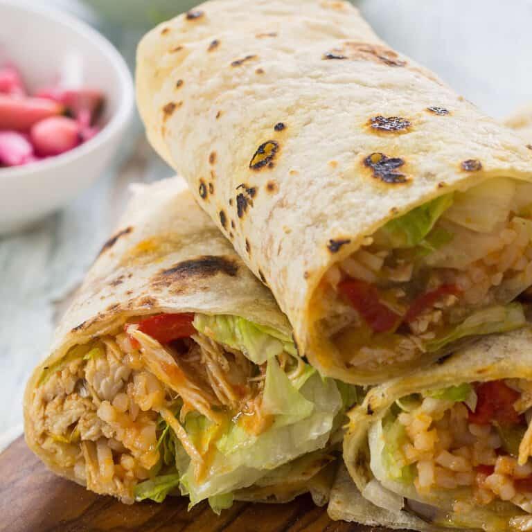 Chicken and rice burrito