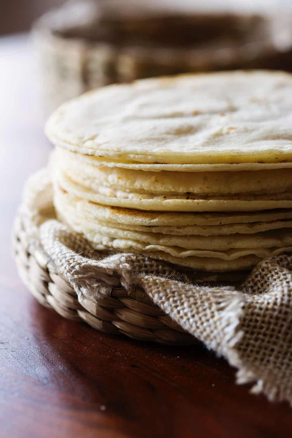 Mexican corn tortillas, piled.