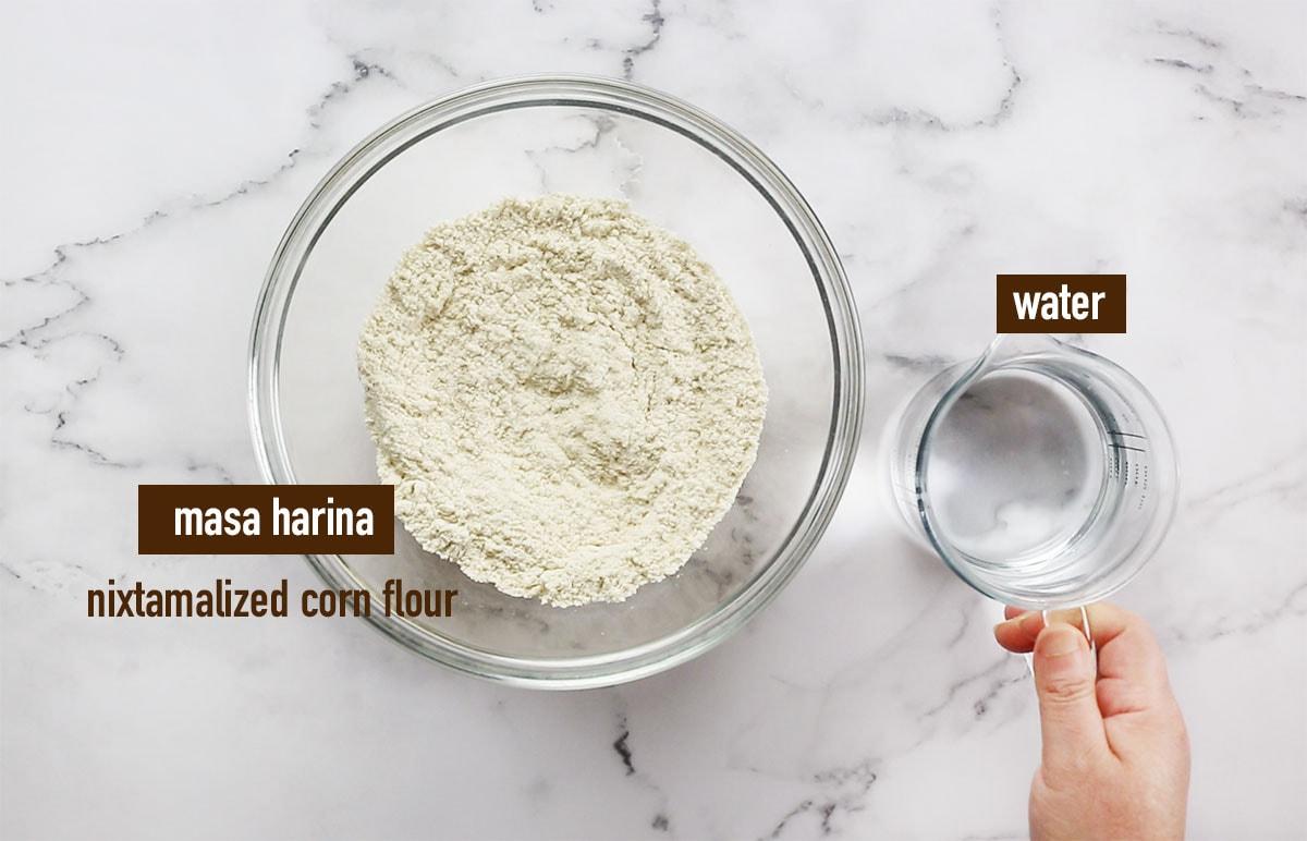 Masa harina and water for corn tortillas.