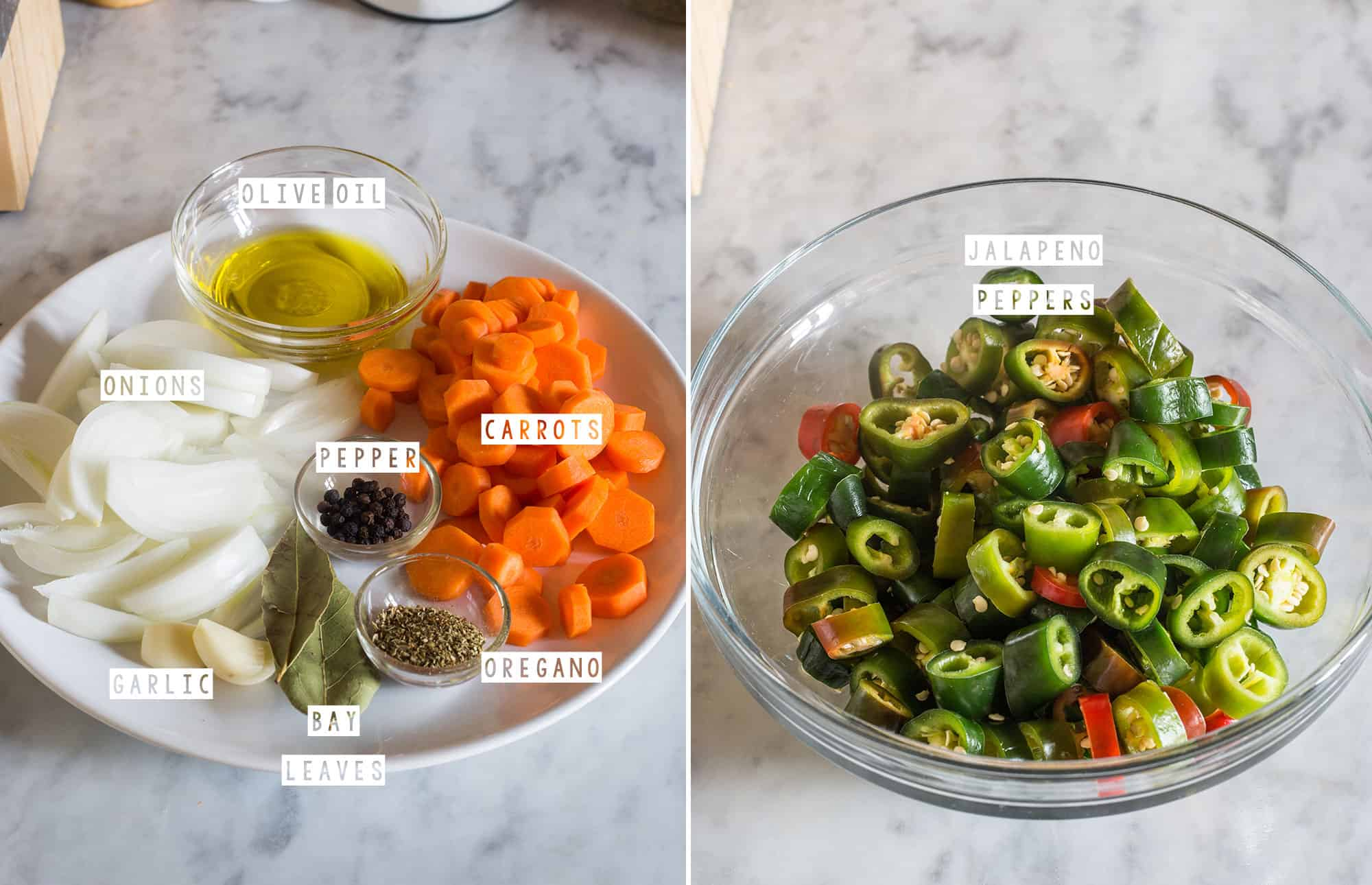 A collage with the ingredients and jalapeño peppers cut into chunks.