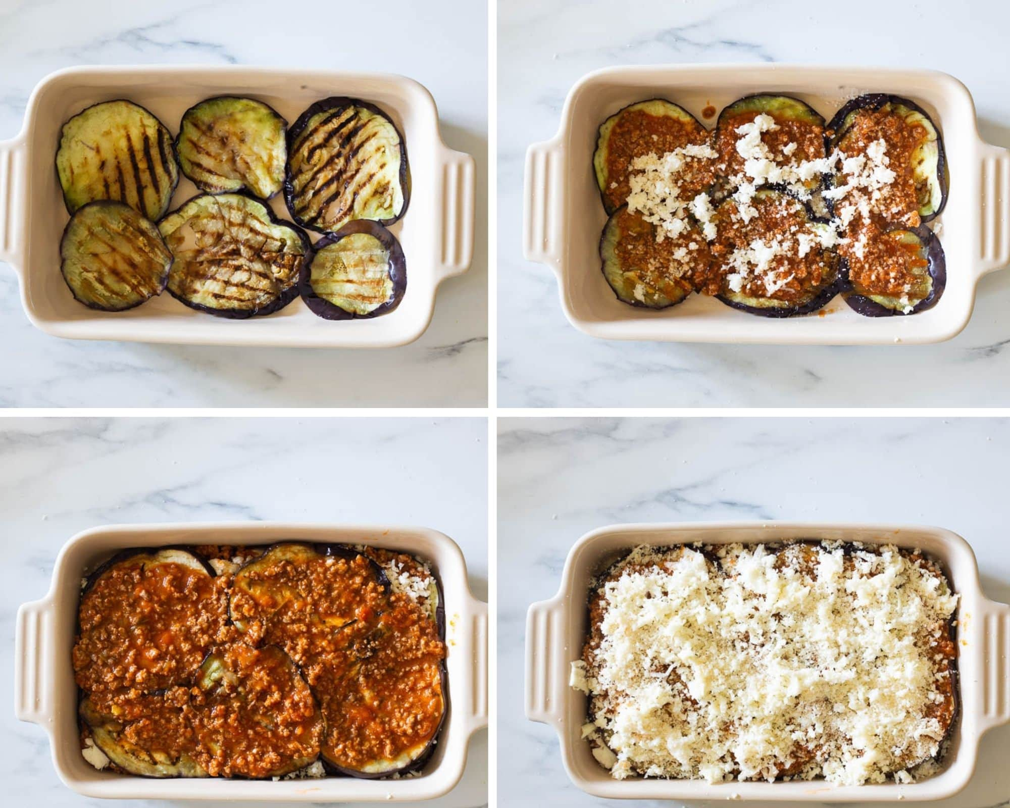 Collage showing how to assemble the eggplant lasagna.