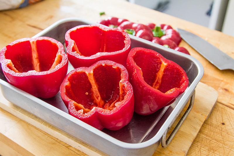 peppers cut and ready to be filled
