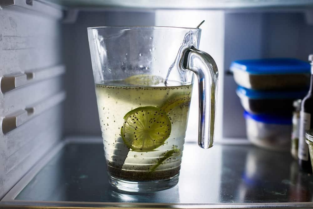 Agua de limón con chia stored in the fridge.