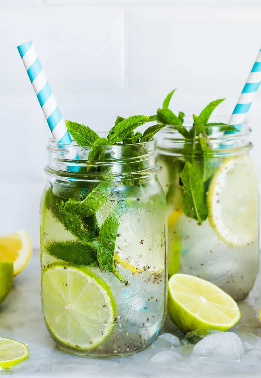 Chia fresca with lemon and mint.