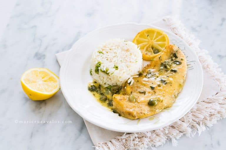 Escalopas de pollo al limón y alcaparras