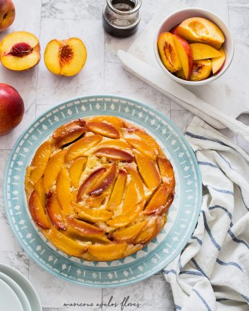 Fresh peach cake, upside down from above view