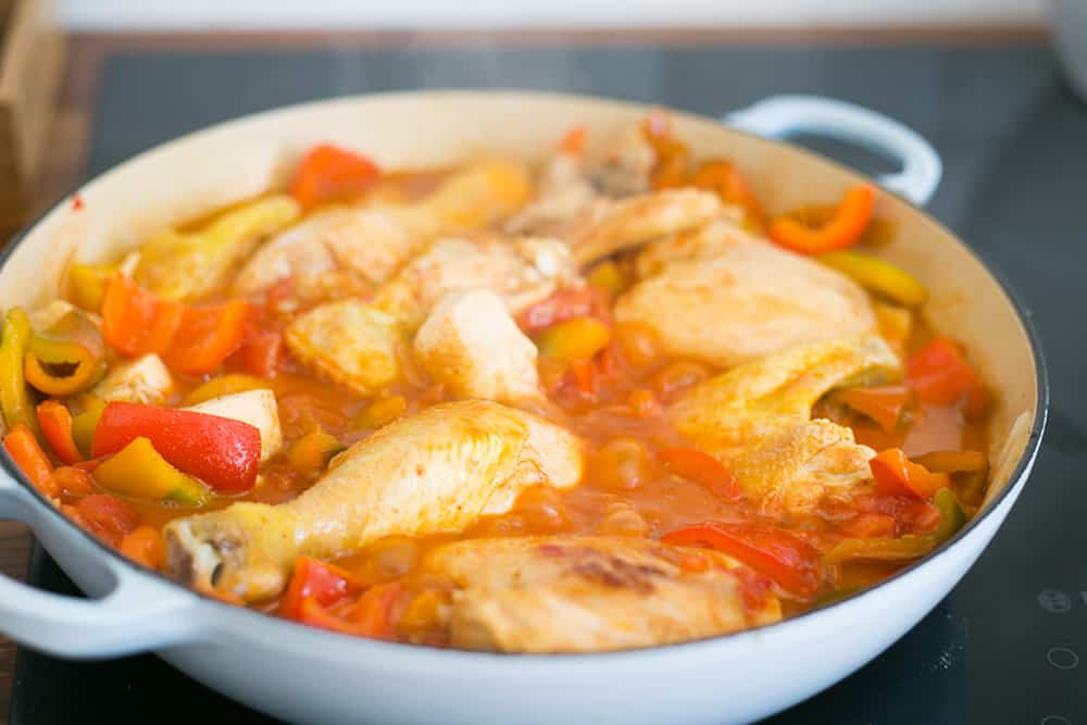 Cooking chicken alla romana.