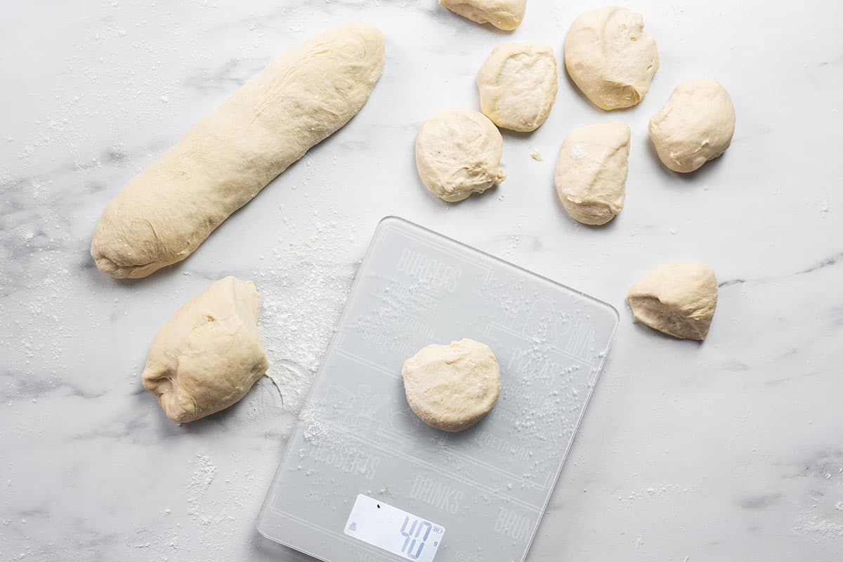 The dough divided into small pieces.