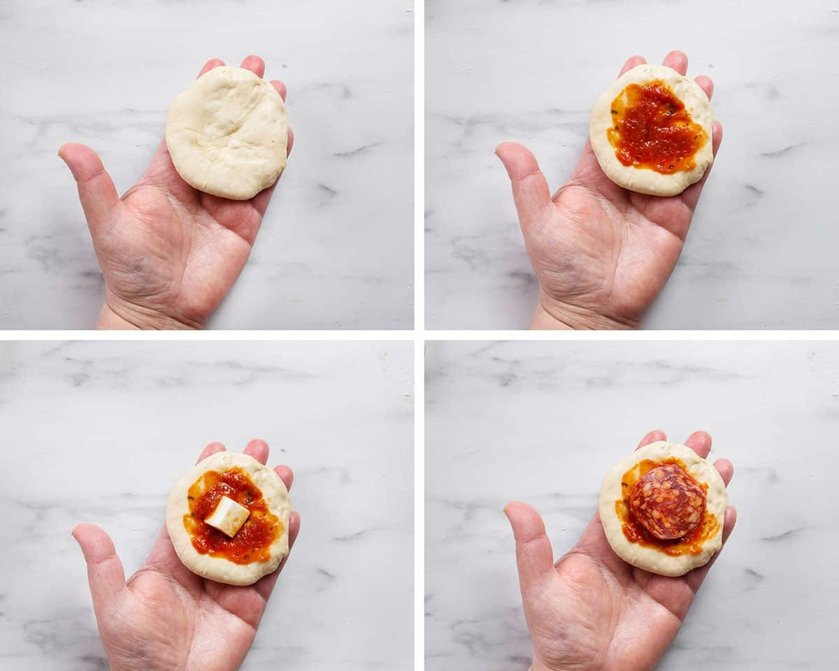 A collage showing how to fill pizza balls.