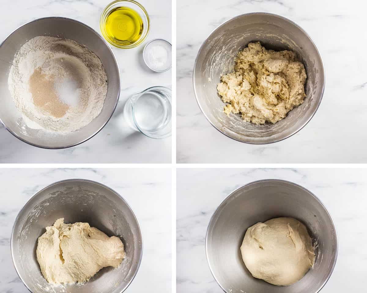 A collage showing how to knead the dough in a stand mixer.