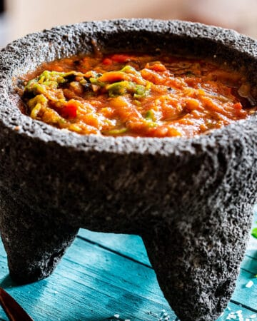 Molcajete salsa with roasted tomatoes and chilies.