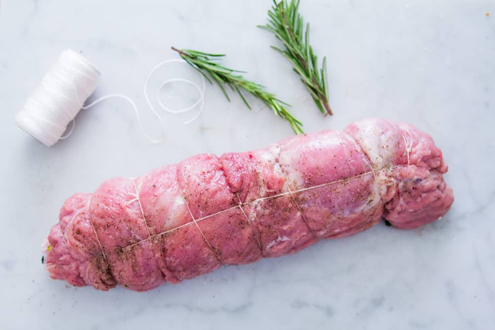Veal stuffed already rolled and tied.