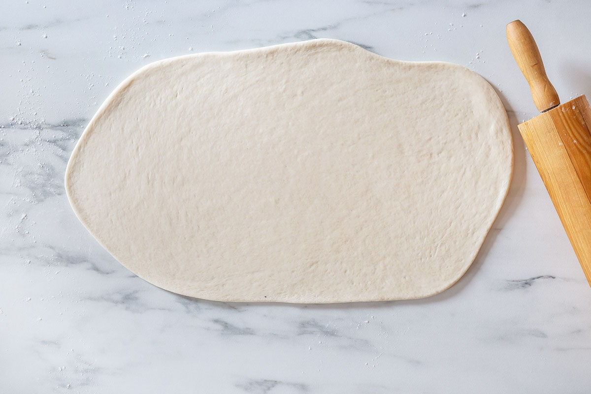 The dough rolled into a rectangle.