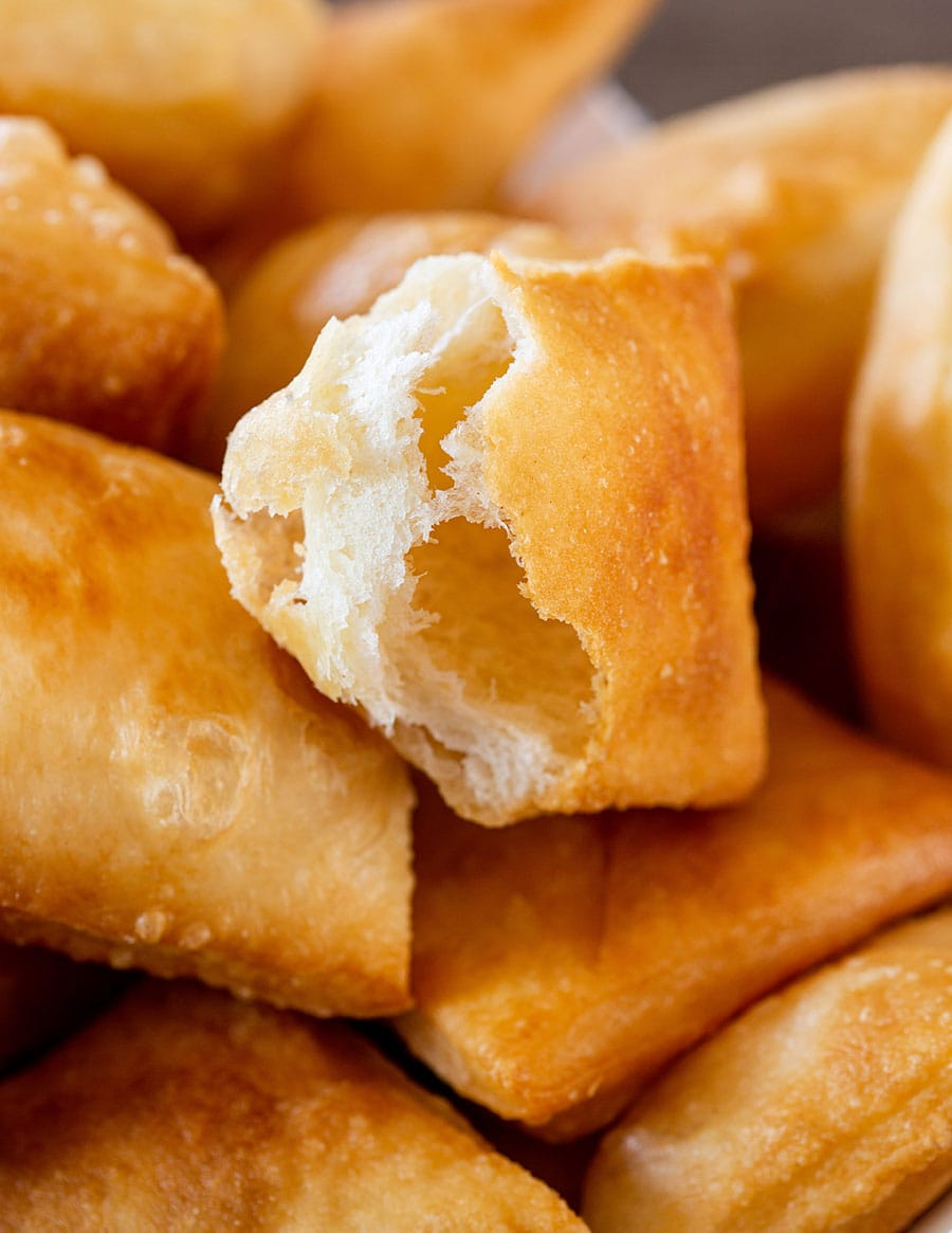 The inside puffy texture of gnocco fritto.