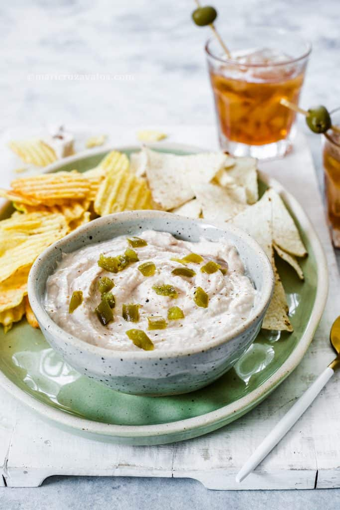 tuna dip served as appetizer with drinks.