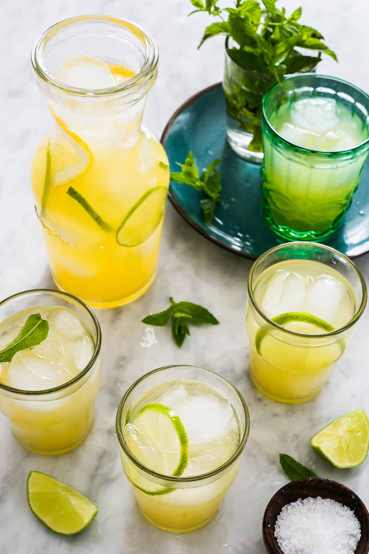 pineapple agua fresca with lime and mint