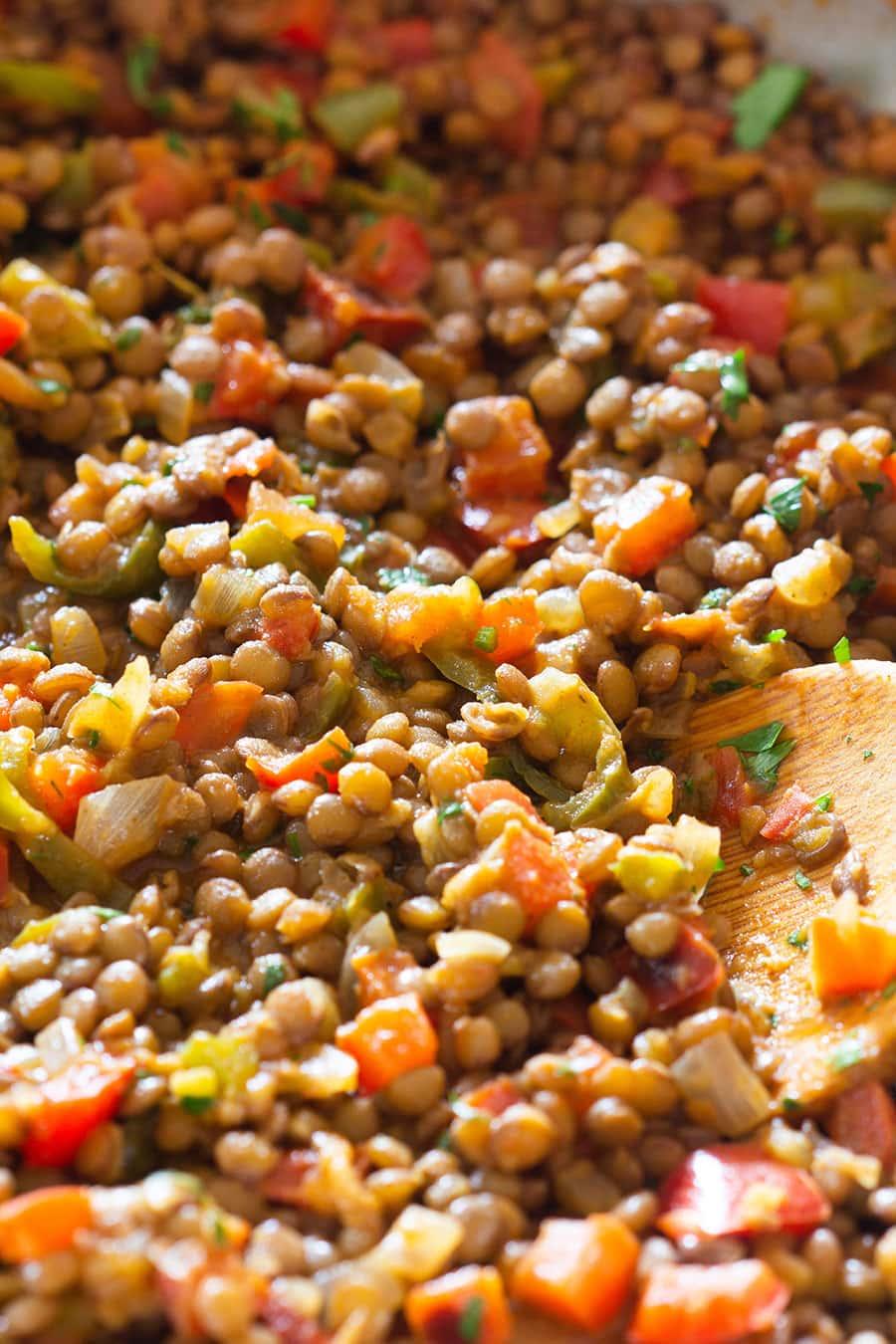 Close up on lentil taco meat.