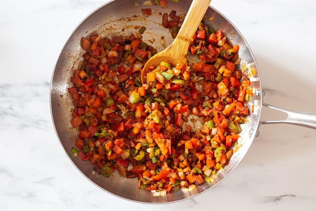 Sautéed vegetables with seasonings.