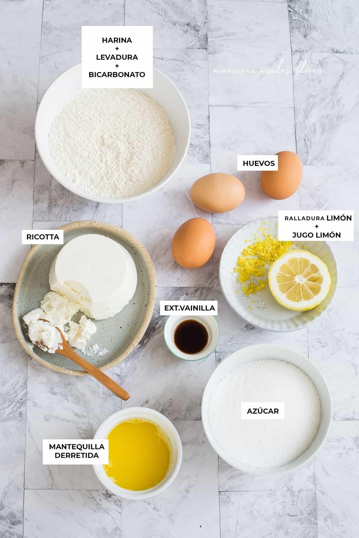 Ingredientes para el bizcocho de ricotta y limón.