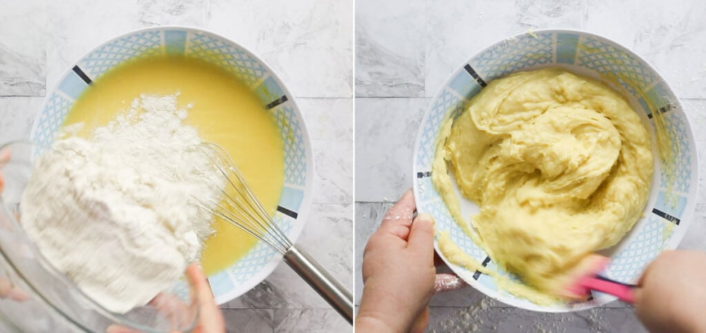 Adding and incorporating flour into ricotta mixture.