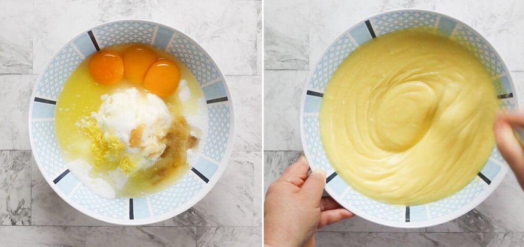 Preparing yolks and ricotta mixture.