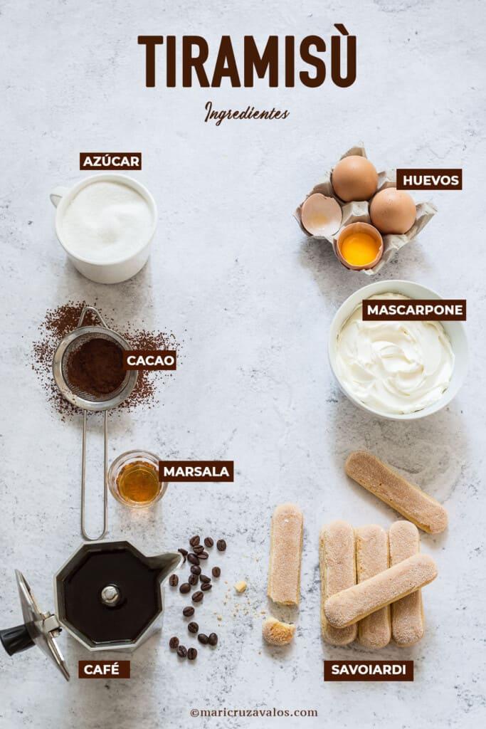 Los ingredientes para la receta tiramisu.