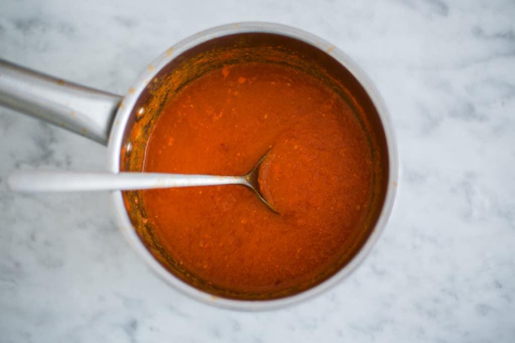 Habanero sauce on a saucepan.