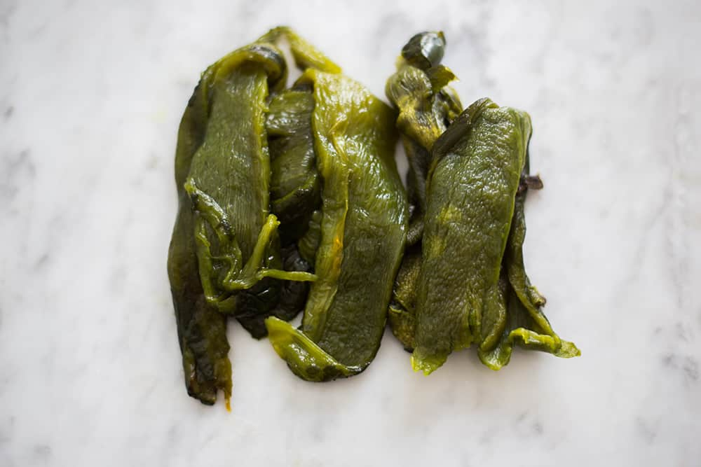 Roasted and peeled poblano peppers.