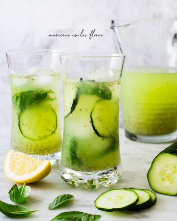 cucumber lime agua fresca served on tall glasses with cubed ice