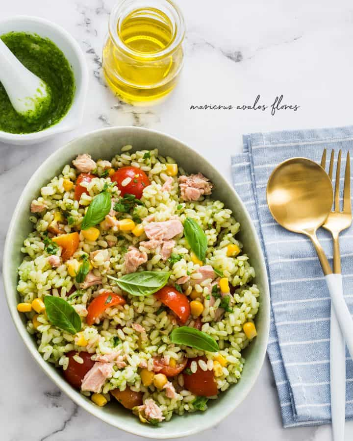 pesto rice salad