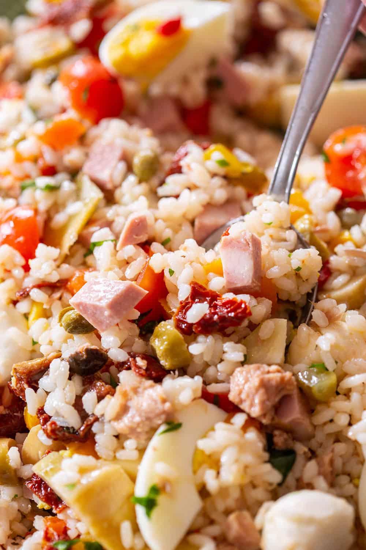 A close up to italian rice salad.