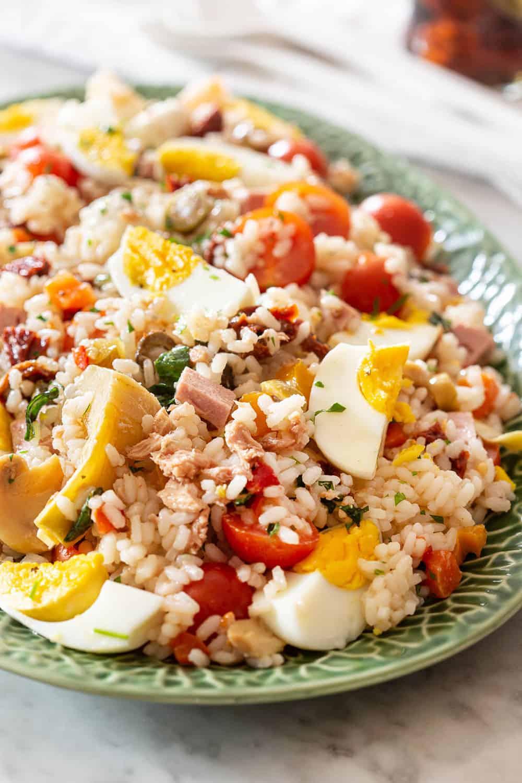 Italian rice salad on a platter.