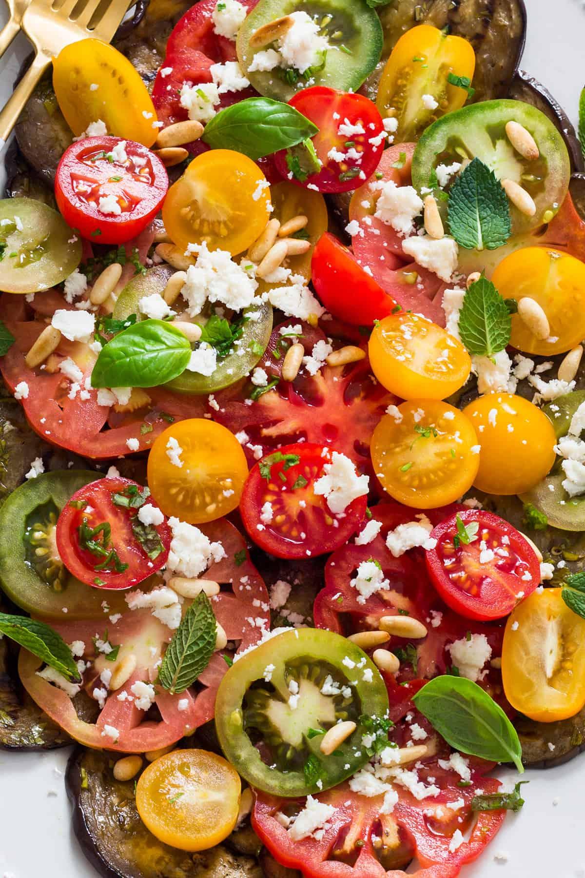 close up: Grilled egg plant salad