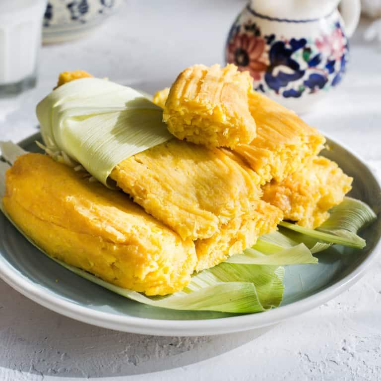 Tamales de elote (sweet corn tamales)