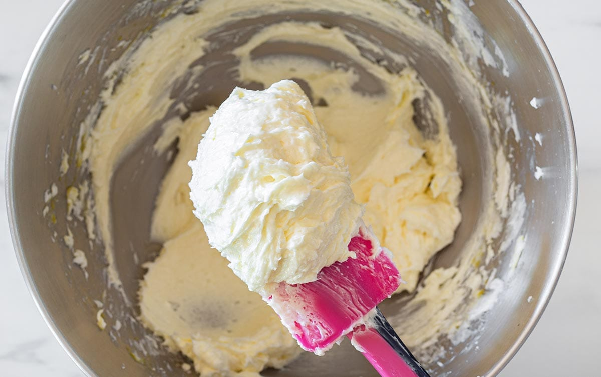 Showing creamy butter texture with a spatula.