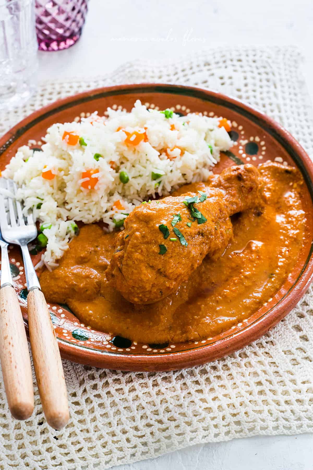 Pollo encacahuatado servido en un plato de barro y acompañado con arroz blanco. Receta tradicional mexicana.
