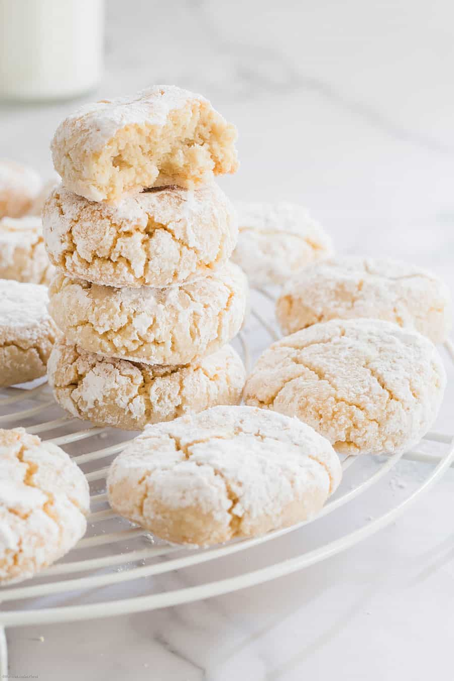 Italian cookies on a cooling rack.