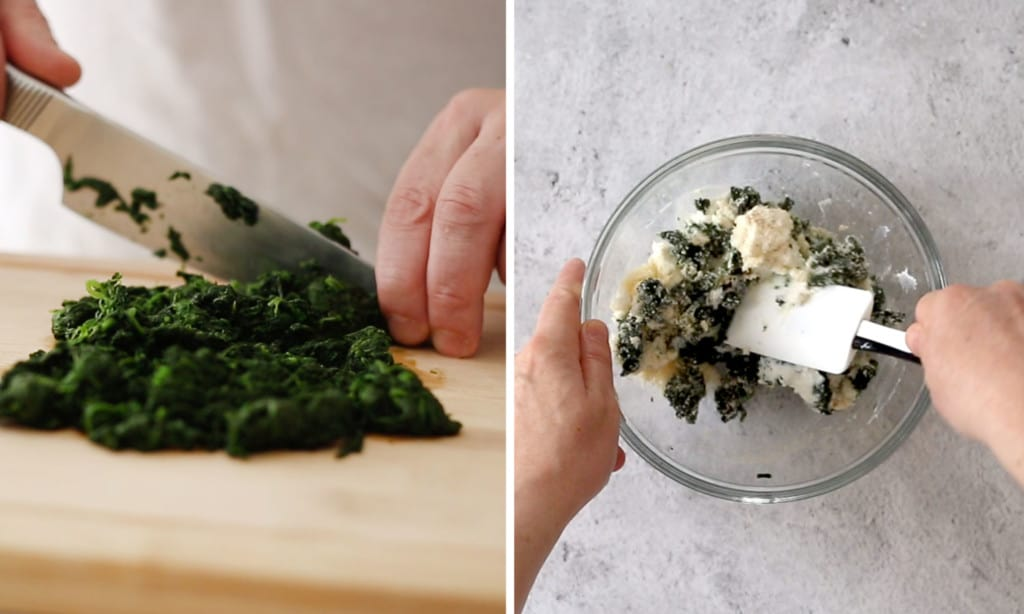 Making the filling: Chopping the spinach (left photo). Mixing spinach, ricotta and parmigiano cheese in a bowl (right picture).