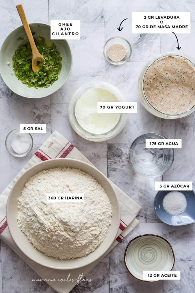 Ingredientes para el naan.