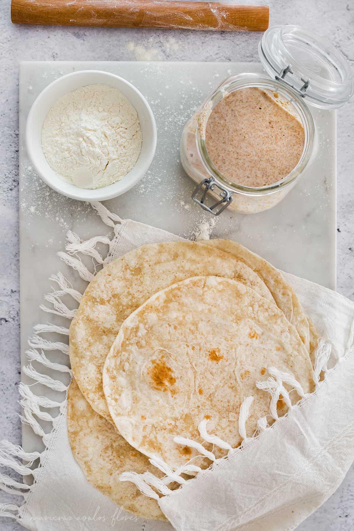 Tortillas de harina con masa madre