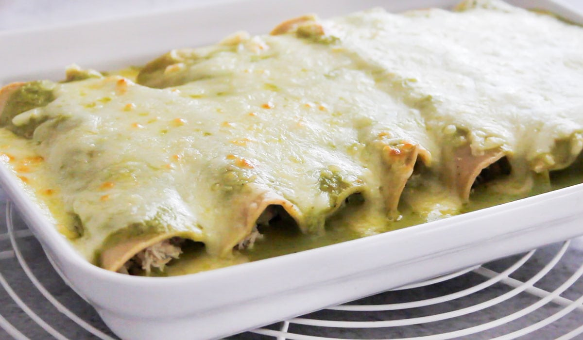 Enchiladas suizas just out of the oven.