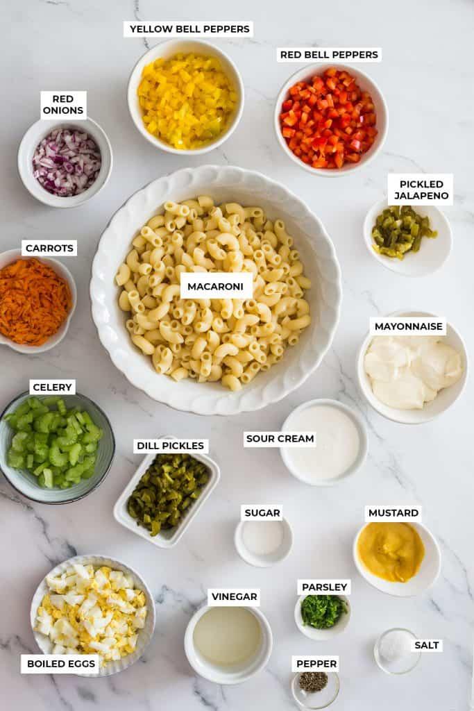 Ingredientes para ensalada de codito.