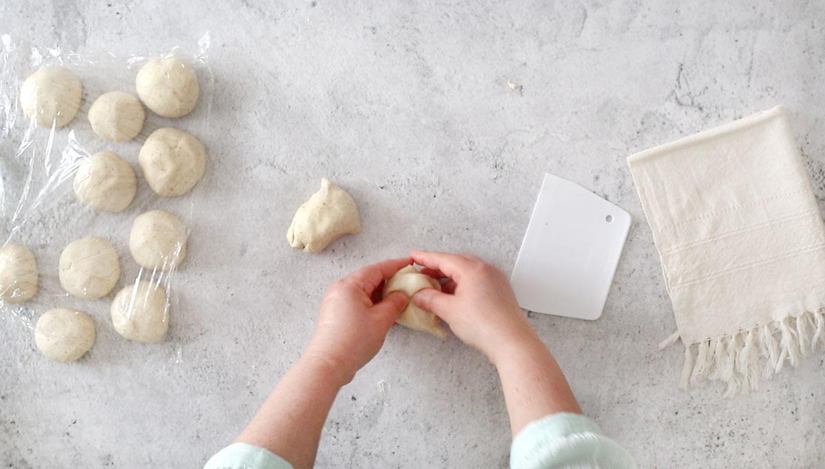 Making dough balls.