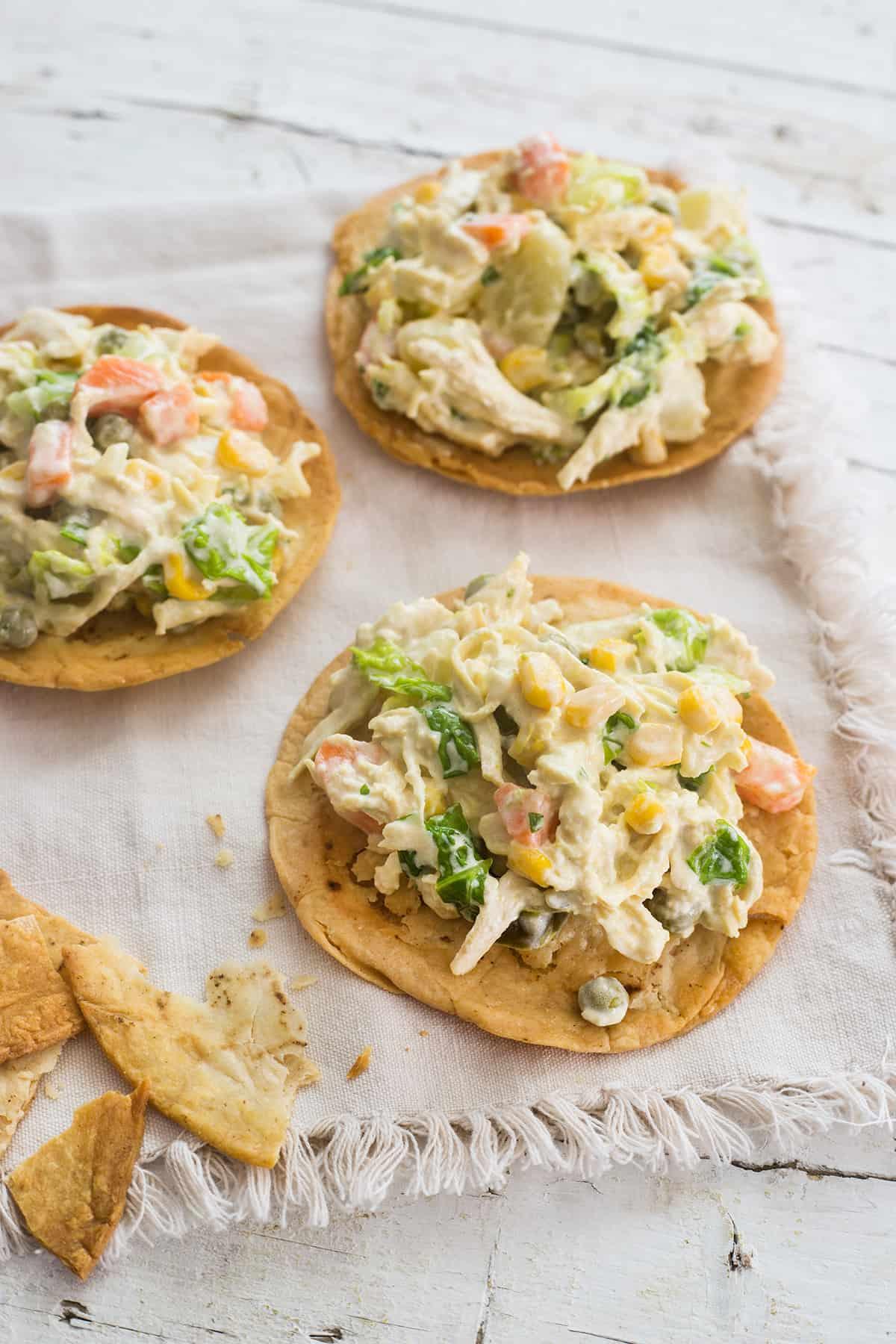tostadas of chicken potato salad