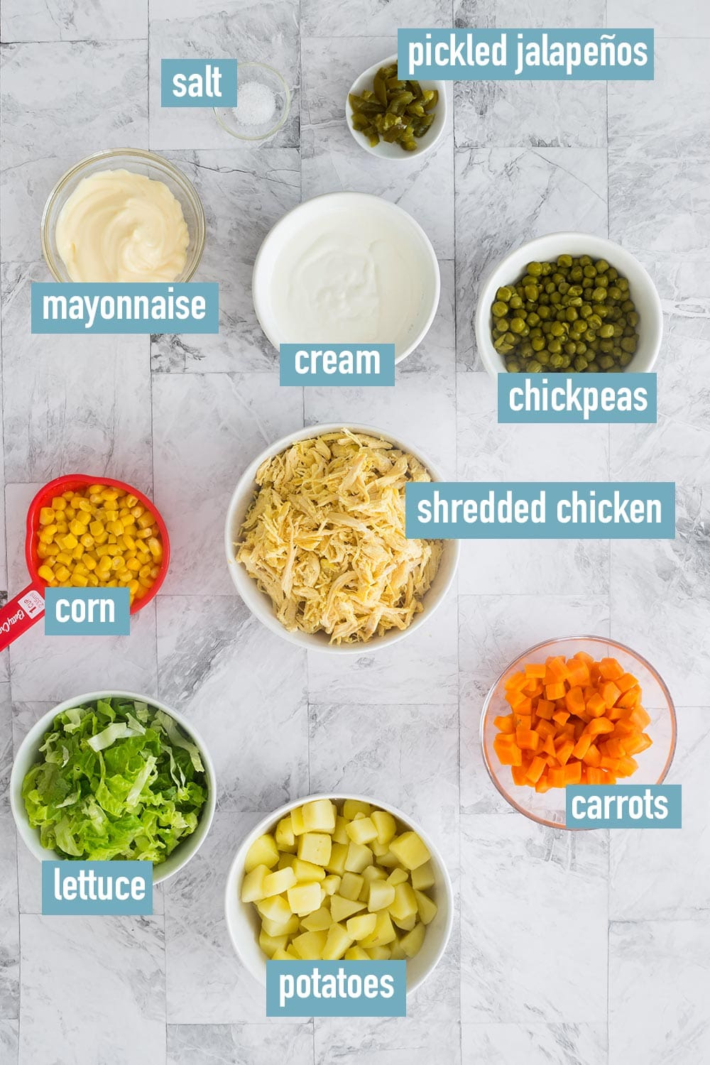 The ingredients labeled and displayed on a countertop.