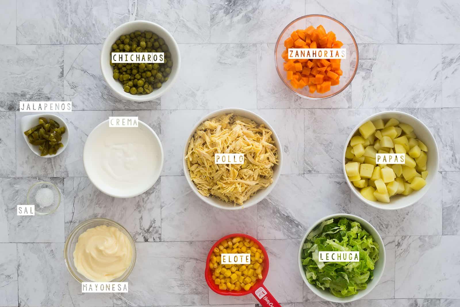 ingredientes para la ensalada de pollo con papas