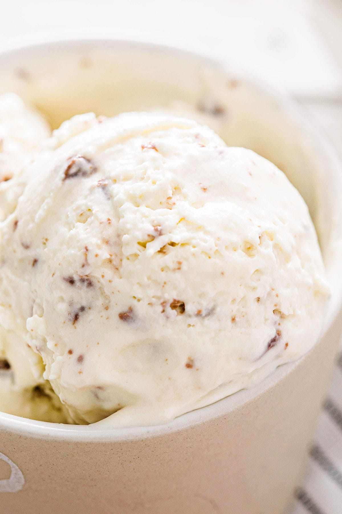 A close up of the ice cream texture.