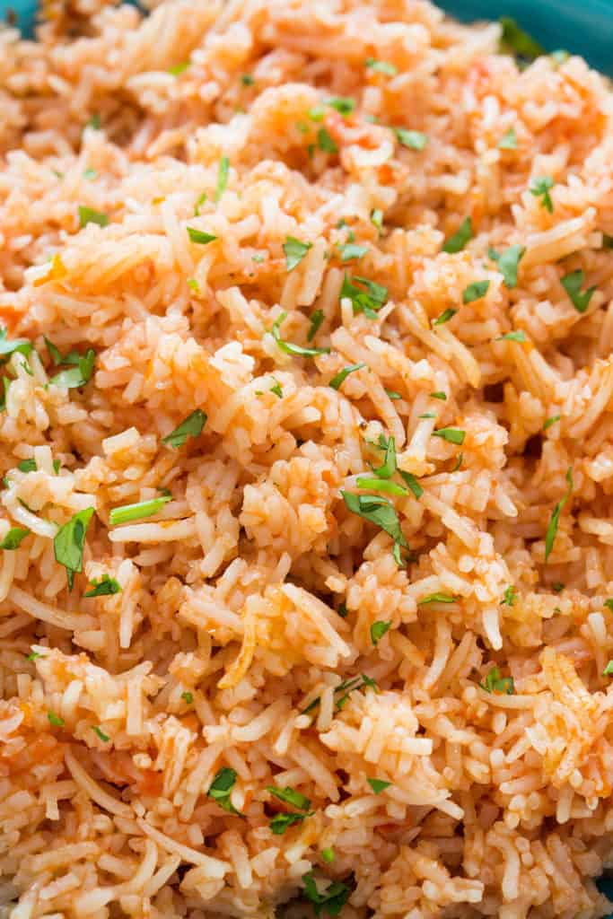 close-up for arroz rojo (mexican rice)