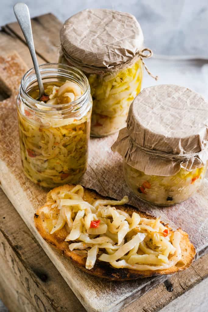 Jars with italian pickled eggplant